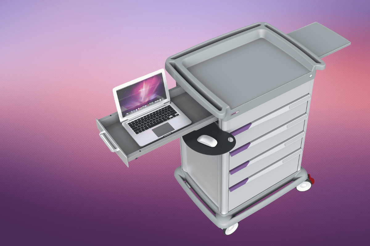 Gray Preciso medical cart hodling laptop with a purple gradient background